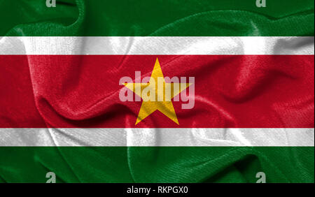 Realistic flag of Suriname on the wavy surface of fabric - Stock Photo