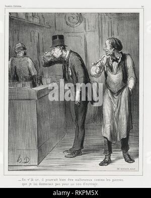 ' This one may look as unhappy as a rock, before I would give him a job'' - 1862 - Honoré Victorin Daumier French, 1808-1879 - Artist: - Stock Photo