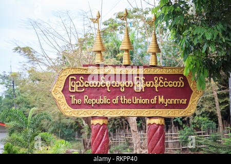 Kanchanaburi, Thailand - December 30, 2018: The Republic of the Union of Myanmar sign at Three Pagodas Pass Thailand-Myanmar border checkpoint. The pa - Stock Photo
