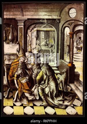 The Birth and Naming of Saint John the Baptist - About 1525 - Northern Netherlandish - Origin: Netherlands, Date: 1520–1530, Medium: Glass, vitreous - Stock Photo