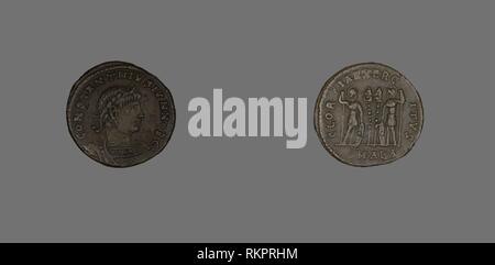 Follis (Coin) Portraying Emperor Constantine II as Caesar - AD 333/335 - Roman - Artist: Ancient Egyptian, Origin: Alexandria, Date: 333 AD–335 AD, - Stock Photo