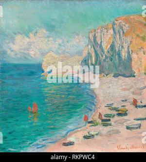 Étretat: The Beach and the Falaise d'Amont - 1885 - Claude Monet French, 1840-1926 - Artist: Claude Monet, Origin: France, Date: 1885, Medium: Oil on - Stock Photo