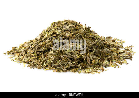 A pile of dried chopped provence herbs isolated on white. - Stock Photo