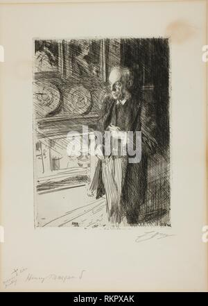 Henry Marquand - 1893 - Anders Zorn Swedish, 1860-1920 - Artist: Anders Zorn, Origin: Sweden, Date: 1893, Medium: Etching on ivory laid paper, - Stock Photo