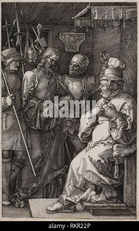 Christ before Caiaphas, from The Engraved Passion - 1512, published 1513 - Albrecht Dürer German, 1471-1528 - Artist: Albrecht Dürer, Origin: - Stock Photo