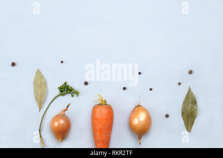 Creative layout made of different vegetables  carrot, onion, black  pepper on light grey background. Food vegan concept.. Flat lay . - Stock Photo