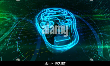 Artificial intelligence with cyber head symbol on digital background. Cybernetic brain abstract 3D illustration.