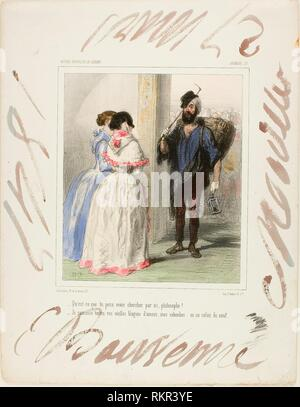 '''''What are you looking for here, Philosopher?'' - 1847 - Paul Gavarni French, 1804-1866 - Artist: Paul Gavarni, Origin: France, Date: 1847, - Stock Photo