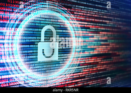 surfing dangerous internet environment. Blue padlock icon on red and blue binary bit code background. data security in hacker prone crime network. pro