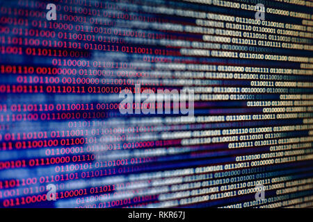 Blue and red binary code background. computer problems concept. black background. malware virus data transfer. - Stock Photo