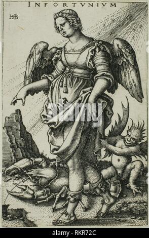 Misfortune - c. 1541 - Sebald Beham German, 1500-1550 - Artist: Hans Sebald Beham, Origin: Germany, Date: 1536–1546, Medium: Engraving in black on - Stock Photo