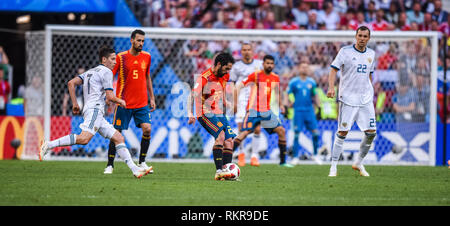 Moscow, Russia – July 1, 2018. Spain national football team players Isco and Sergio Busquets with Russia players Artem Dzyuba and Daler Kuzyaev during - Stock Photo