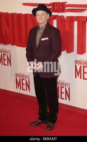 Bill Murray arrives at the UK Premiere of 'The Monuments Men'' at the Odeon Leicester Square - Stock Photo