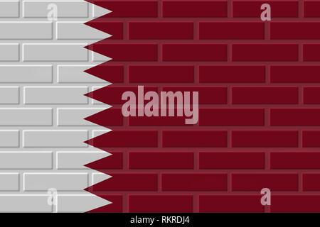 Qatar painted flag. Patriotic brick flag illustration background. National flag of Qatar - Stock Photo