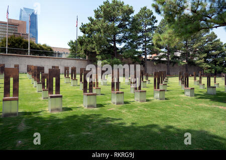 View of the Field Of Empty Chairs at the Oklahoma City National Memorial in Oklahoma City, USA - Stock Photo