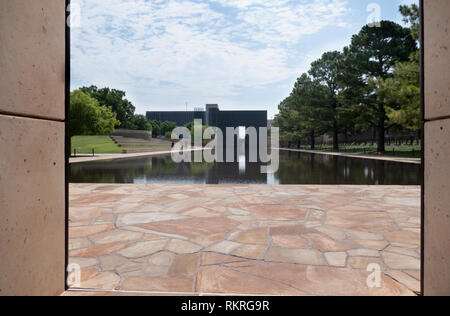 View of the Oklahoma City National Memorial in Oklahoma City, United States of America. American building, monument and landmark - Stock Photo