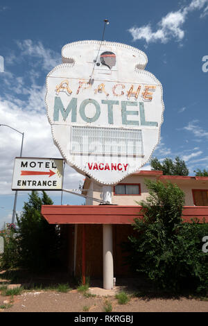 Abandoned tourist motel on a US highway in Tucumcari, New Mexico, United States of America, along the iconic Route 66. View of a small American town i - Stock Photo