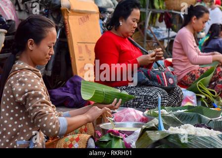 Morning Food Market Luang Prabang - Stock Photo