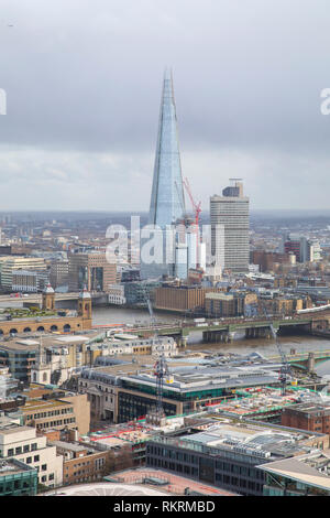The Shard and Guy's Hospital as seen from the Golden Gallery of St. Paul's Cathedral, London. Stock Photo