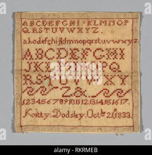 Sampler - 1833 - Kitty (née Dodsley) Marriott Moffatt (English, 1825-1902) England - Artist: Mrs. Dodsley Marriot Moffatt, Origin: United States, - Stock Photo