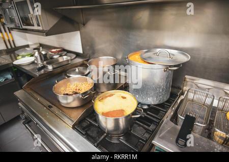 professional kitchen gas cooker hob stock photo 33354793 alamy. Black Bedroom Furniture Sets. Home Design Ideas
