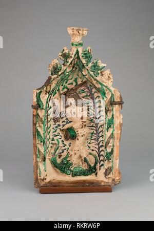 Stove Tile with Saint George and the Dragon - 1475/1500 - Austrian or south German - Origin: Germany, Date: 1475–1500, Medium: Lead-glazed - Stock Photo