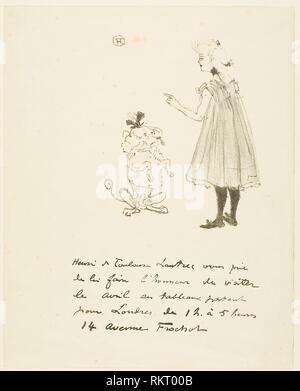 Invitation to an Exhibition - 1898 - Henri de Toulouse-Lautrec French, 1864-1901 - Artist: Henri de Toulouse-Lautrec, Origin: France, Date: 1898, - Stock Photo