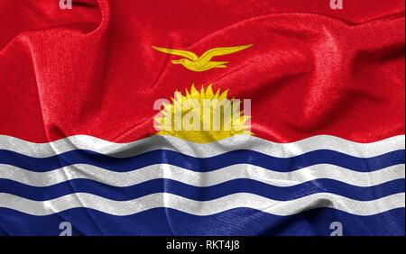 Realistic flag of Kiribati on the wavy surface of fabric - Stock Photo
