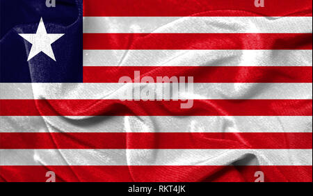 Realistic flag of Liberia on the wavy surface of fabric - Stock Photo