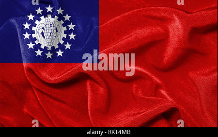 Realistic flag of Myanmar Burma on the wavy surface of fabric - Stock Photo