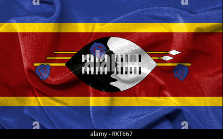 Realistic flag of Swaziland on the wavy surface of fabric - Stock Photo