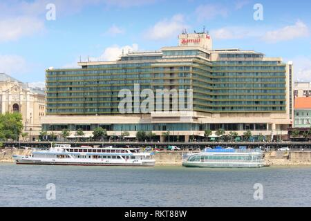 BUDAPEST, HUNGARY - JUNE 20, 2014: Marriott hotel in Budapest. Marriott International is a hotel company with more than 4,000 properties worldwide. - Stock Photo