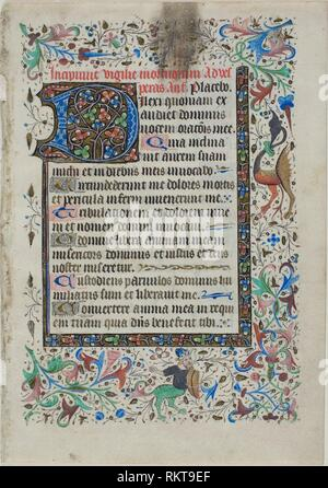 Text Leaf from a Book of Hours - c. 1430 - French (possibly Loire Valley) - Origin: France, Date: 1420–1440, Medium: Manuscript cutting with - Stock Photo