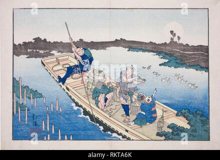 Ferry boat crossing the Sumida River, from the album ''Friends of the Three Capitals (Santo no tomoe)'' - 1832 - Totoya Hokkei Japanese, 1780-1850 - - Stock Photo