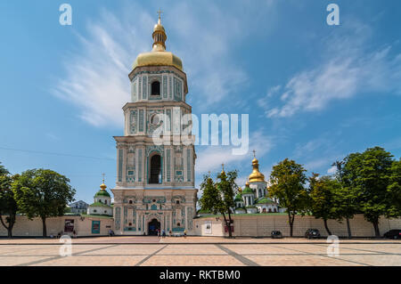 Kyiv, Ukraine - June 18, 2011: View of Saint Sophia Cathedral Bell tower in Kyiv, Ukraine. Sophia Cathedral (Eastern Orthodox Cathedral, 11th century) - Stock Photo