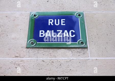 Paris, France - Rue Balzac old street sign. It commemorates famous French writer, Honore Balzac. - Stock Photo