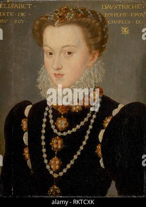 Portrait of Elizabeth of Austria, Wife of King Charles IX of France - after 1571 - François Clouet, follower of French, 1516/20–1572 - Artist: - Stock Photo