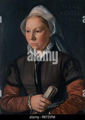 Portrait of a Young Woman - 1562 - Joachim Beuckelaer Netherlandish, c. 1535-c. 1574 - Artist: Joachim Beuckelaer, Origin: Flanders, Date: 1562, - Stock Photo
