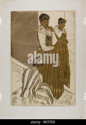 The Fitting - 1890-91 - Mary Cassatt American, 1844-1926 - Artist: Mary Cassatt, Origin: United States, Date: 1889-1891, Medium: Color aquatint with - Stock Photo