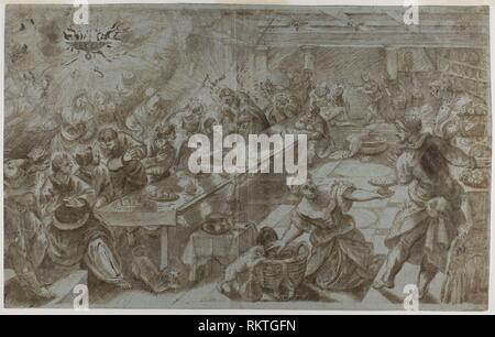 Last Supper - after Jacopo Robusti, called Tintoretto Italian, 1518-1594 - Artist: Tintoretto, Origin: Italy, Date: 1538-1594, Medium: Brush and - Stock Photo