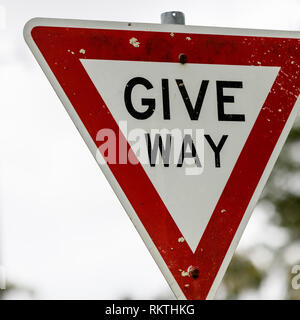 Giveway road sign - Stock Photo