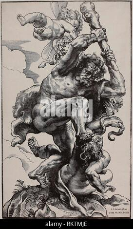 Hercules Slaying Envy - 1633/34 - Christoffel Jegher (Flemish, 1596-1652/53) after Peter Paul Rubens (Flemish, 1577-1640) - Artist: Christoffel - Stock Photo
