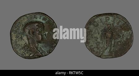 Sestertius (Coin) Portraying King Philip II - AD 244/246 - Roman, minted in Rome - Artist: Ancient Roman, Origin: Roman Empire, Date: 244 AD–246 AD, - Stock Photo