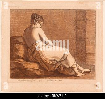 Reclining Girl Seen from the Back - 1780 - Angelica Kauffmann Swiss, 1741-1807 - Artist: Angelica Kauffmann, Origin: Switzerland, Date: 1780, Medium: - Stock Photo