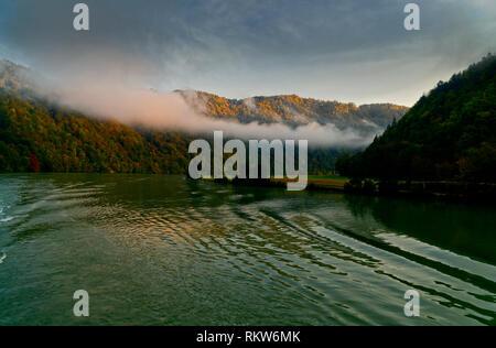 Early morning fog on the River Danube Austria Germany border near Erlau - Stock Photo