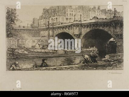 The Pont-Neuf - 1901 - Louis Auguste Lepère French, 1849-1918 - Artist: Louis Auguste Lepère, Origin: France, Date: 1901, Medium: Etching on cream - Stock Photo