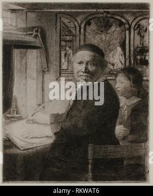 Lieven Willemsz van Coppenol, Writing Master: The Smaller Plate - c. 1658 - Rembrandt van Rijn Dutch, 1606-1669 - Artist: Rembrandt Harmenszoon van - Stock Photo
