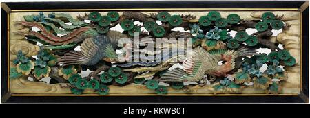 Two carved wooden transoms (ramma) panels from the Hooden - 1893 - Takamura Koun Japanese, 1852-1934 - Artist: Takamura Kôun, Origin: Japan, Date: - Stock Photo