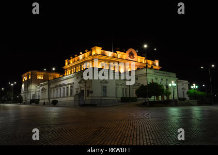 SOFIA, BULGARIA - MAY 7, 2018: National assembly, Bulgarian parliament in Sofia, Bulgaria at night. - Stock Photo