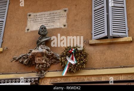 Vignola, Emilia Romagna, Italy. January 2019. North of the fortress, view of Via Giuseppe Garibaldi. In detail the bust in honor of Garibaldi. - Stock Photo